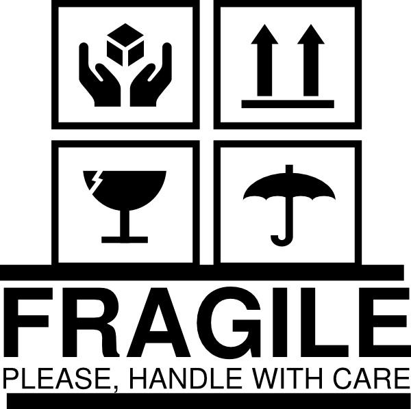1000pcs/lot 7x7cm FRAGILE PLEASE HANDLE WITH CARE self ...