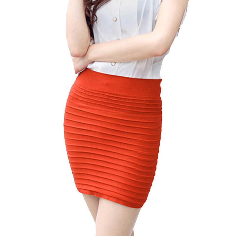 Laamei النساء مثير مطوي سلس تمتد ضيق مثير Bodycon البسيطة تنورة قصيرة عالية الخصر مطاطا البسيطة قصيرة الإناث تنّورة مجسّمة