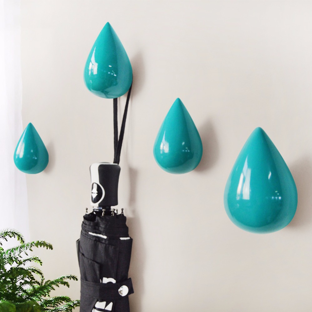 8x5x5cm Water Drop Design Wall Hangers For Hanging Coats Hats Colthes White/black/gold/r ...