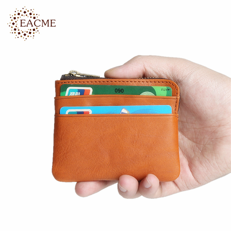 Genuine Leather Key Case Wallet Cash Credit Card Holder Bag Zipper Closure New