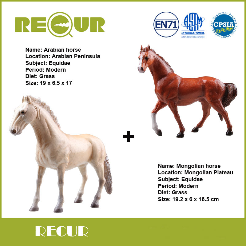 2 Pcs/lot Recur Delicate Mongolian Horse+Arabian Horse Hand Painted Soft PVC Farm Animal Collection Model Action & Toy Figures бумажник extreme horse imperial horse