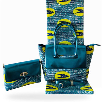 3pcs/set New coming 6Y African cotton print wax fabric with wax bag and purse set for party FB9-5