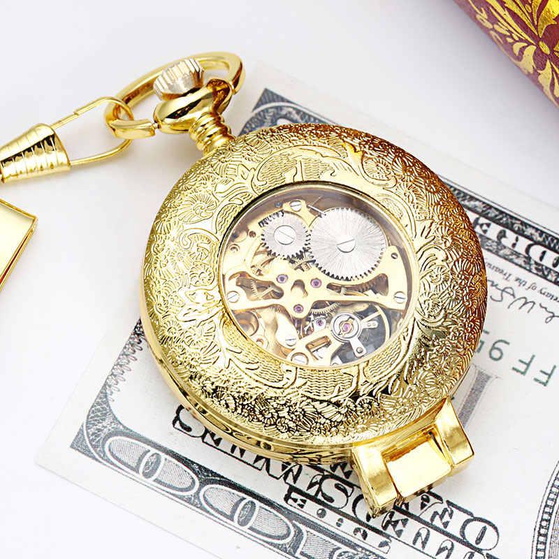 בציר כחול שמיים זהב מכאני שעון כיס Fob Steampunk גברים שרשרת עם שרשרת גברים נשים שעון יד קופסא מתנה