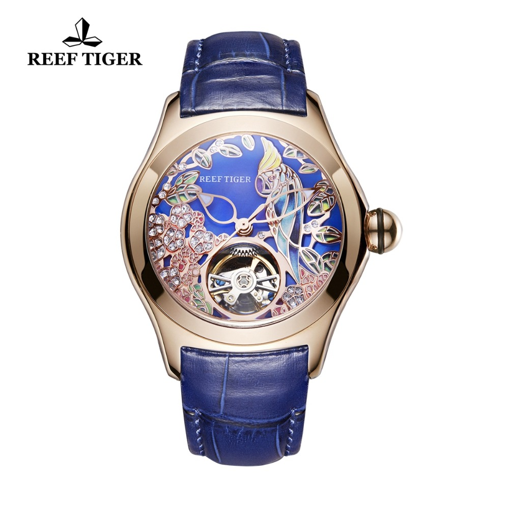 Reef Tiger/RT Blue Dial Fashion Watches for Women Tourbillon Watch Leather Strap Waterproof Automatic Watches RGA7105 Переносные часы