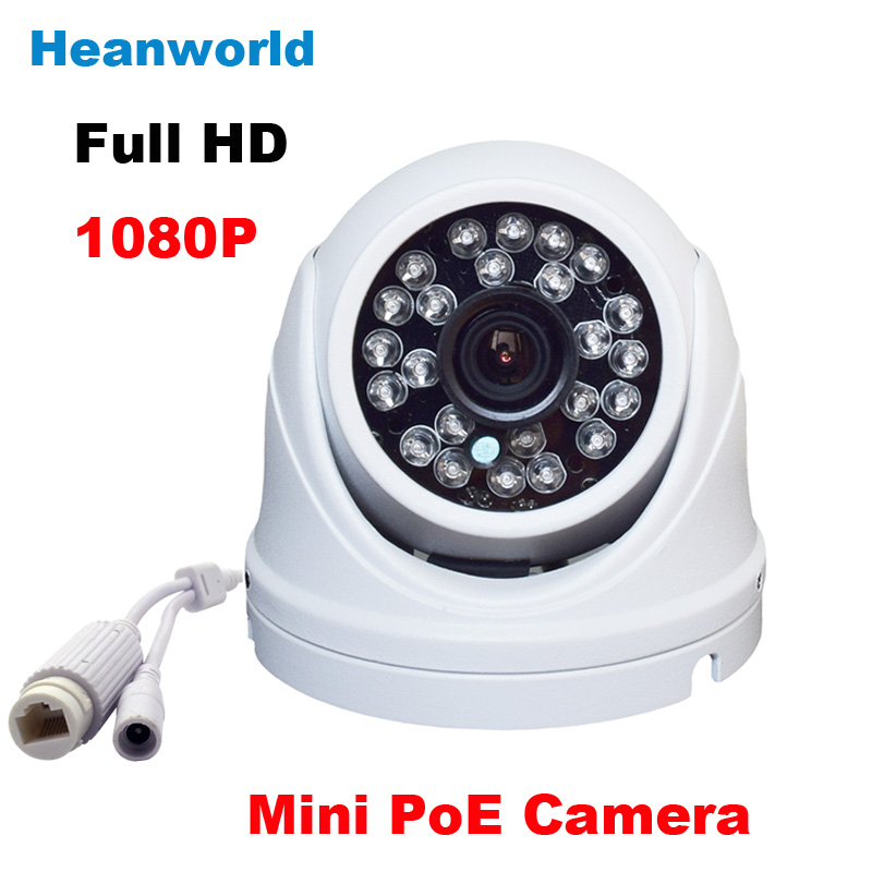HD waterproof mini dome Ip camera 1080P POE IP camera cctv surveillance webcam support night vision onvif Infrared IR camera h 265 onvif network ip camera 2mp 3mp 4mp 48 ir leds night vision waterproof metal housing dome cctv camera support 48v poe