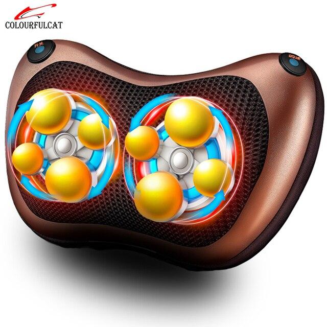 Colourfulcat Neck Massager Shoulder Back Leg Body Massage Pillow Electric Shiatsu Spa Home/Car Equipment with LED Light Heating