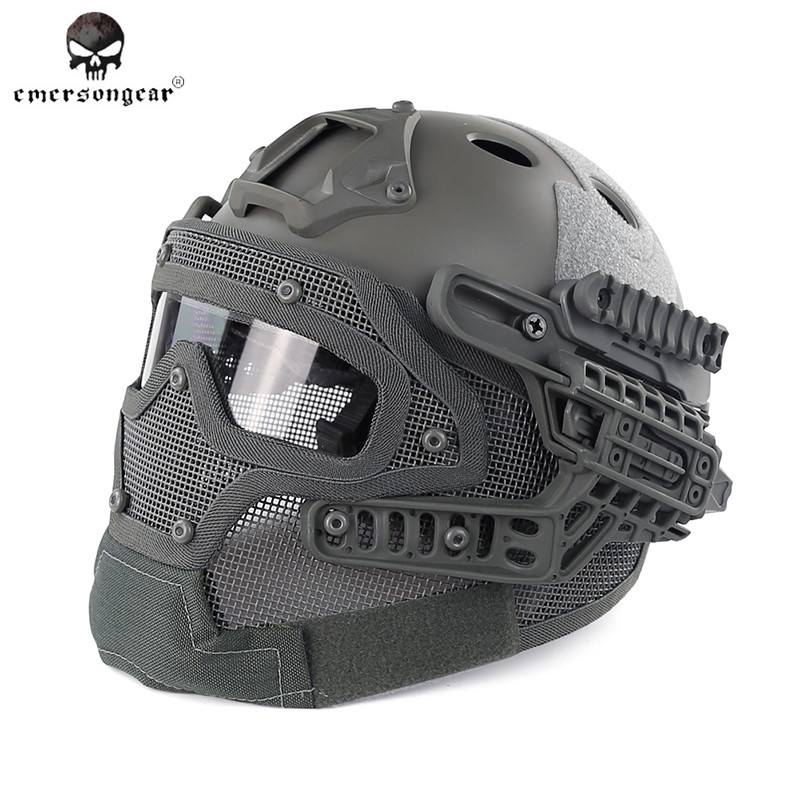 Emerson BD9197 G4 System/Set PJ Helmet with Overall Protection Glass Mask Military Paintball Hunting Helmet with Goggle airsoft adults cs field game skeleton warrior skull paintball mask