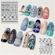 HANYI series 182 183 3d nail stickers template decals self-adhesive DIY decoration tools for wraps