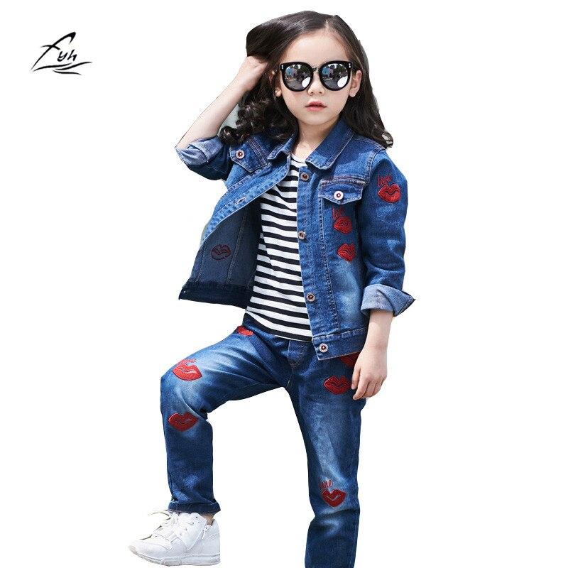 FYH Kids Clothing Autumn Spring School Girls Denim Suits Stylish Jeans Jacket+Denim Pants 2pcs Children Girls Denim Clothing Set