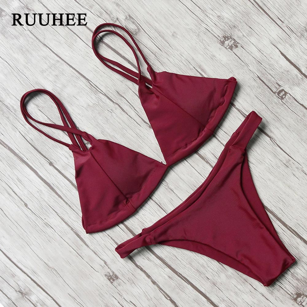 RUUHEE Women Swimsuit 2017 Sexy Bikini Set Push Up Swimwear Female Halter Bandage Bathing Suit Padded Brazilian Bikini Beachwear maheu 2017 sexy high neck halter thong bikini set push up women bandage hollow swimsuit swimwear female cut out bathing suit