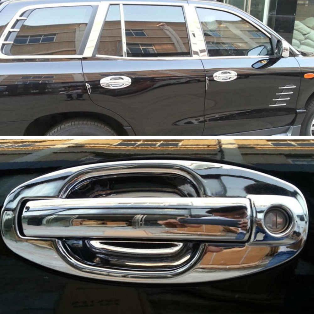 Barbekü @ FUKA krom ABS araba kapı kolu + kase kapağı Trims Overlay Garnish Hyundai Santa Fe için Fit 2001-2006 1st nesil
