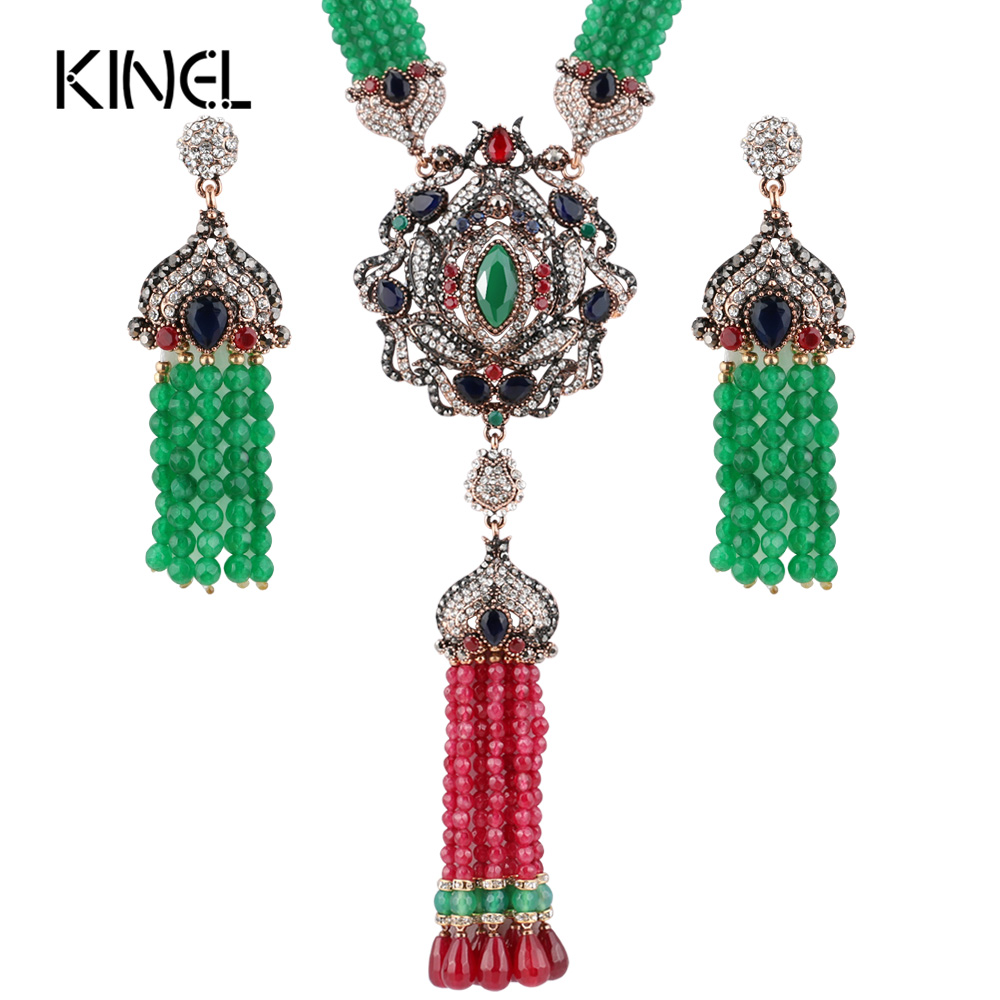 Kinel Luxury Natural Stone Antique Jewelry Sets Gold Color Manual Beaded African Bead Tassels Necklace Earrings Vintage JewelryKinel Luxury Natural Stone Antique Jewelry Sets Gold Color Manual Beaded African Bead Tassels Necklace Earrings Vintage Jewelry
