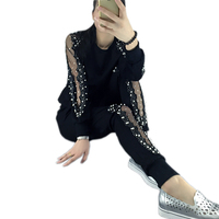 Large Size 4XL 2 Pieces set Women Sportswear suits 2018 Spring Ladies Sporting Suit Sexy Sweatshirts Pants Loose Tracksuits