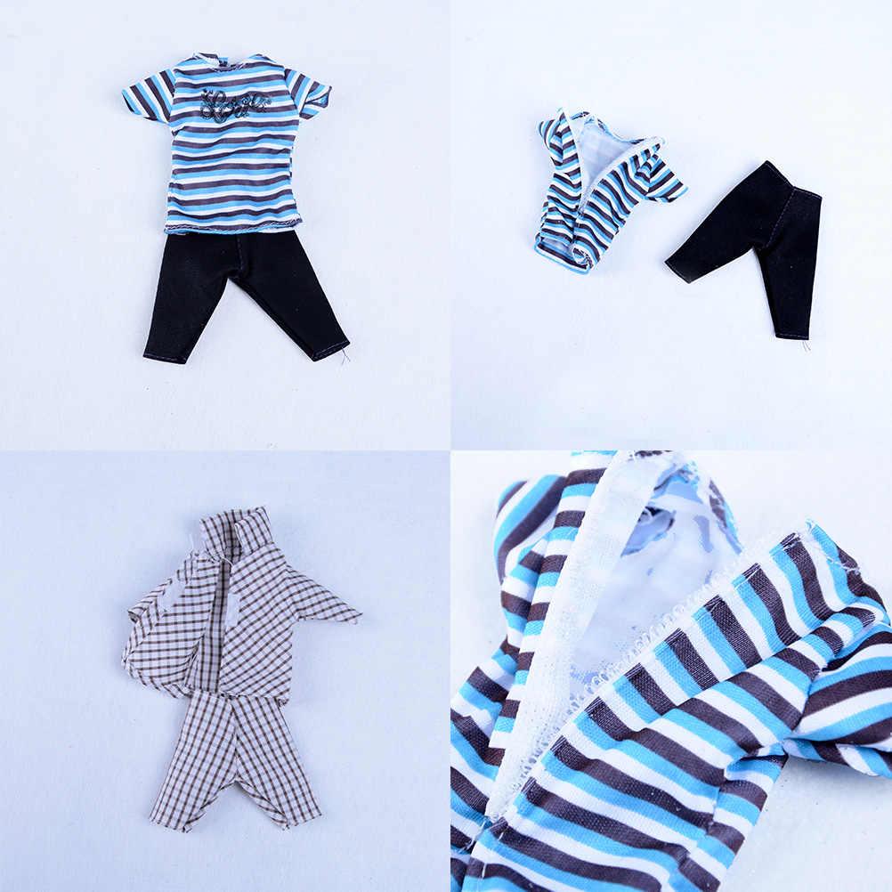 Conjuntos 5 Mini Boneca Homens Casual Wear Roupas Tops T-Shirt Calças Jaqueta Roupas Acessórios para Ken Boneca Boneca de Brinquedo