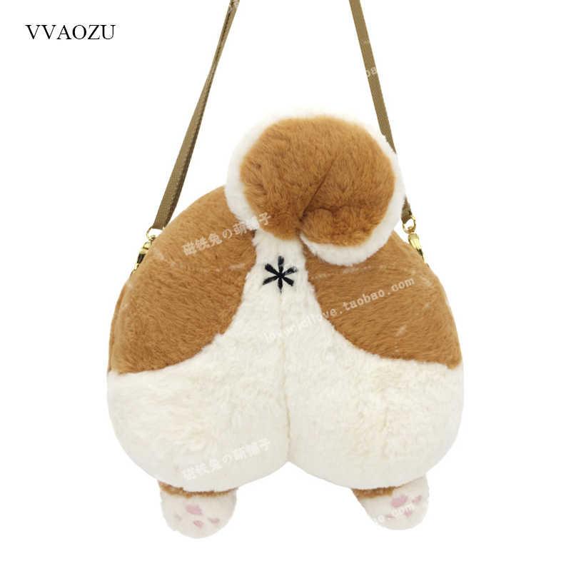 546ccf79504f Милые 3D кошка собака меховые сумки через плечо Fun Мягкая сумка собачка  задницу мягкая игрушка Crossbody