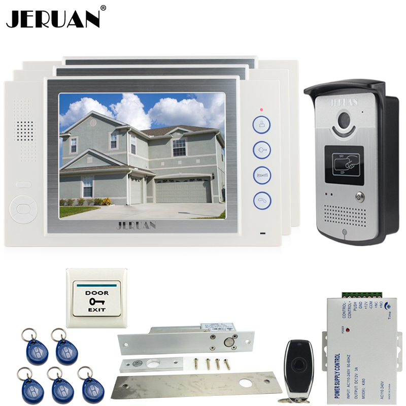 JERUAN 8`` video door phone Record intercom system kit 3 house Aluminum panel 700TVL RFID Access Camera ELectric Drop Bolt lock jeruan 7 video door phone record intercom system 3 monitors 700tvl rfid access ir night vision camera electric drop bolt lock