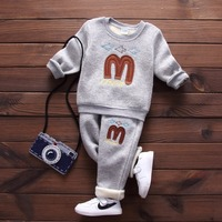 Autumn Baby Clothing Set Boys Letter M Print Newborn Baby Girls Top Pant Fashion Infant Girls