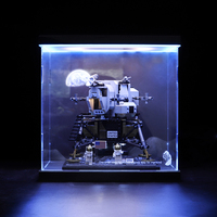 Acrylic Display Show Box with LED Dust Cover for Apollo Saturn 11 Moonlight Cabin 10266 Top +Back Light (Box Only,No Brick Kit)