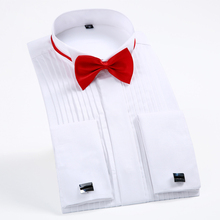"""Mens Long Sleeve Wing Collar 1/4"""" Pleat Tuxedo Dress Shirt French Cuffs with Tie Free of Charge Wedding Bridegroom Shirts Tops"""