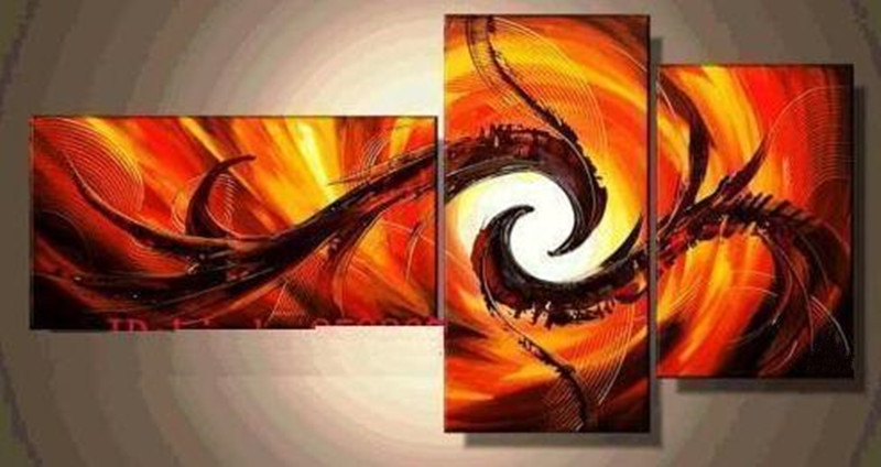 3 Panel Pictures Handpainted Abstract Acrylic Paintings ...