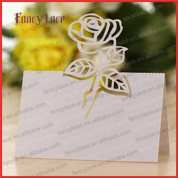 50pcs Latest Laser Cutting Wedding Invitation Decorations Name Place Card Table Cards Rose Flower