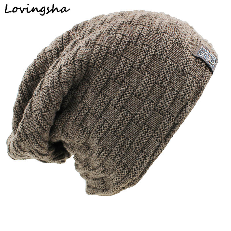 цены на LOVINGSHA Solid Design Skullies Bonnet Winter Hats For Women Men Beanie Men's Faux Fur Warm Baggy Knitted Knit Winter Hat Caps