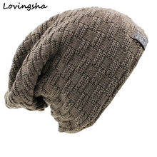 LOVINGSHA Solid Design Skullies Bonnet Winter Hats For Women Men Beanie Men's Faux Fur Warm Baggy Knitted Knit Winter Hat Caps(China)