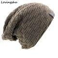 Nuevo Diseño Sólido de La Manera Skullies Capó Sombreros de Invierno Para Hombres de Las Mujeres hombres de Piel Falsa Caliente Baggy Beanie Knit Del Invierno Del Sombrero Gorras de Punto