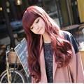 women cheap korean wigs with bangs long wine red wig cosplay full burgundy wig curly heat resistant synthetic wigs natural hair