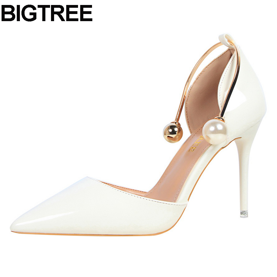 BIGTREE women thin high heel pumps faux pearl bead metal d'orsay two-piece stiletto shoes multi color white silver nude pink new arrival awesome pink silk metal stiletto high heel shoes women fancy metal branch decoration thin heel pointy pumps hot sell