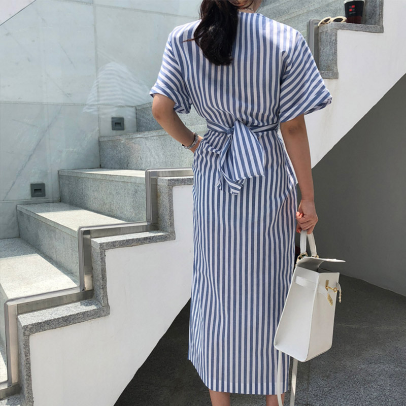 Striped Half Sleeve O Neck Bow Tie Women Dresses 2019 Summer Split Bandage Mid Calf Korean Style Elegant Classic Lady Maxi Dress in Dresses from Women 39 s Clothing