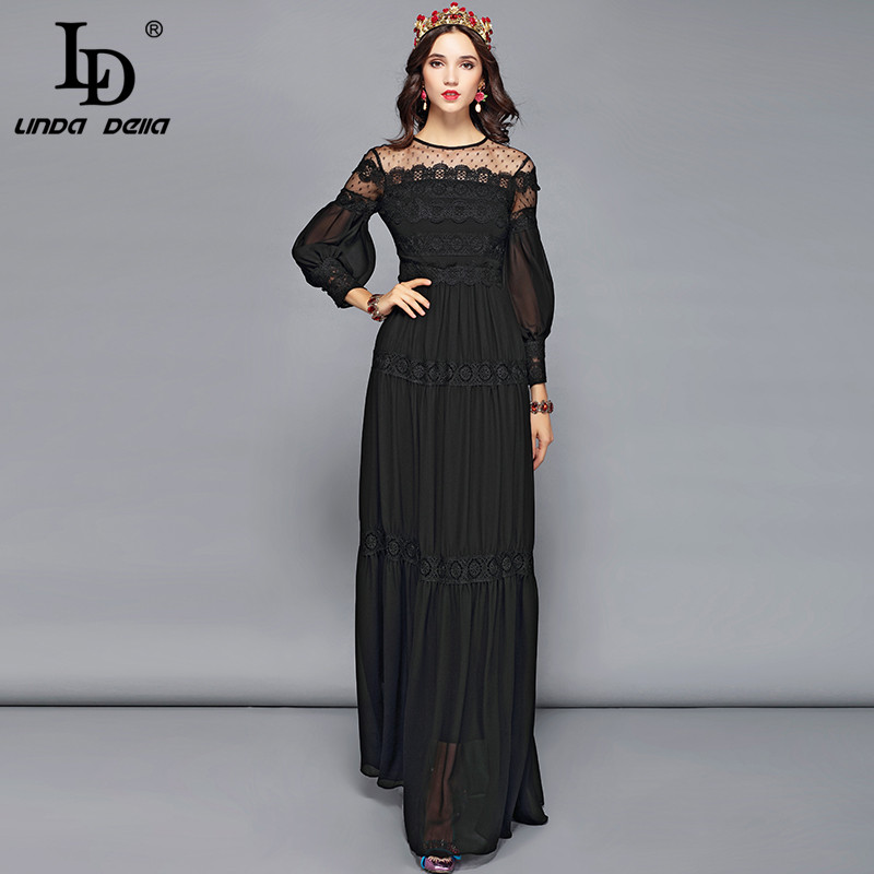 7680861092eee Detail Feedback Questions about LD LINDA DELLA Elegant Black Dress Women's  Long Sleeve Flower Embroidery Maxi Long Dress Floor Length Formal Party  Dresses ...