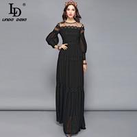 LD LINDA DELLA Elegant Black Dress Women's Long Sleeve Flower Embroidery Maxi Long Dress Floor Length Formal Party Dresses