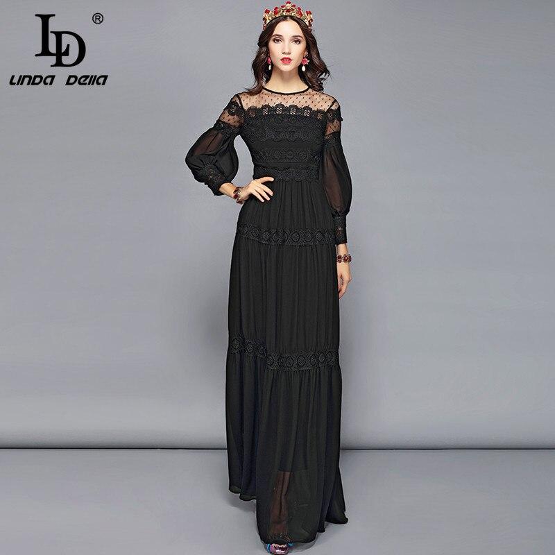 Vestido de fiesta Formal largo hasta el suelo con bordado de flores de manga larga para mujer-in Vestidos from Ropa de mujer    1