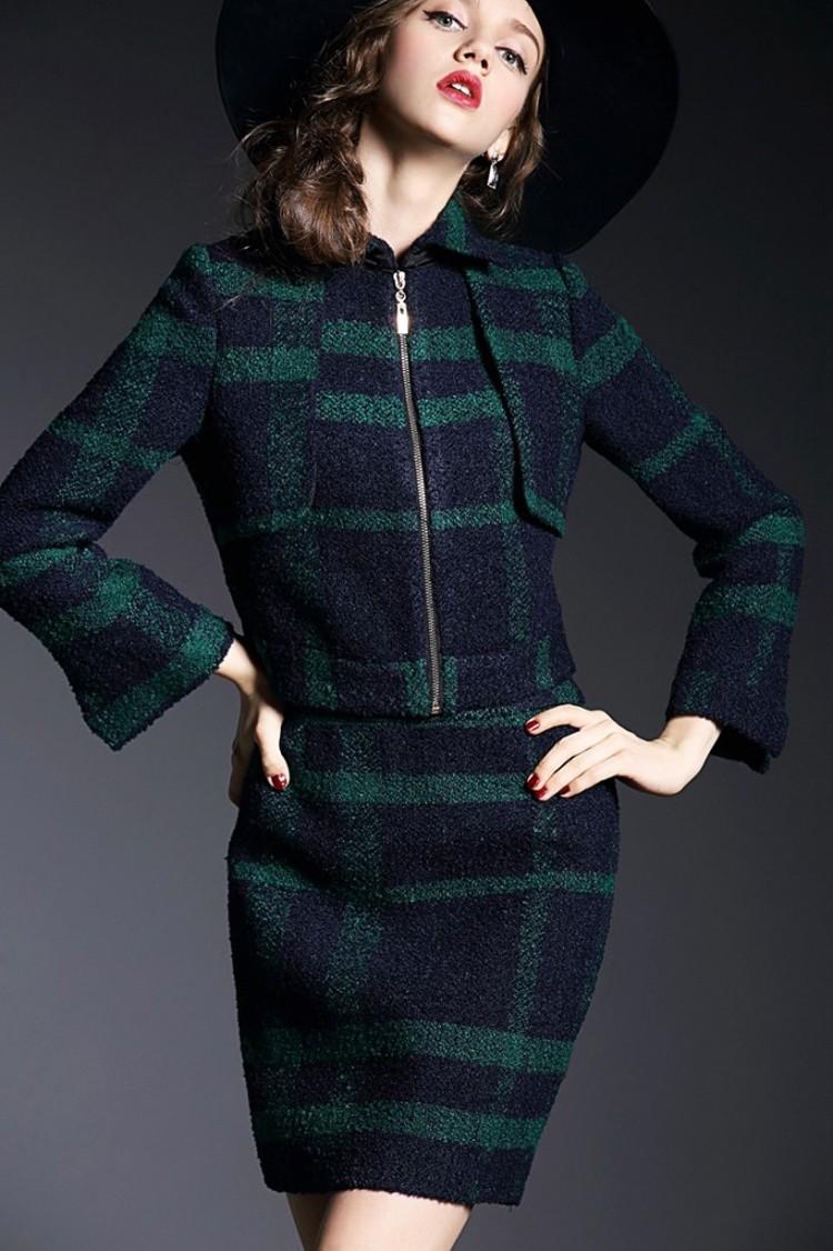 Runway Style High Grade Grid Pattern Woolen Green Skirt Suits Autumn Winter 2015 (11)