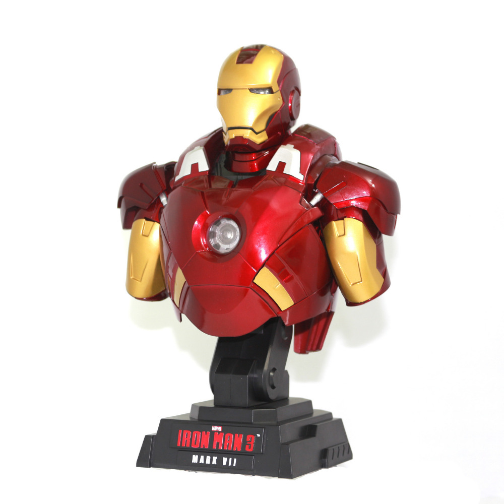 NEW hot 23cm Avengers Iron man bust luminous action figure toys collection christmas toy doll new hot 17cm captain america civil war avengers iron man mk43 action figure toys collection christmas toy doll with box