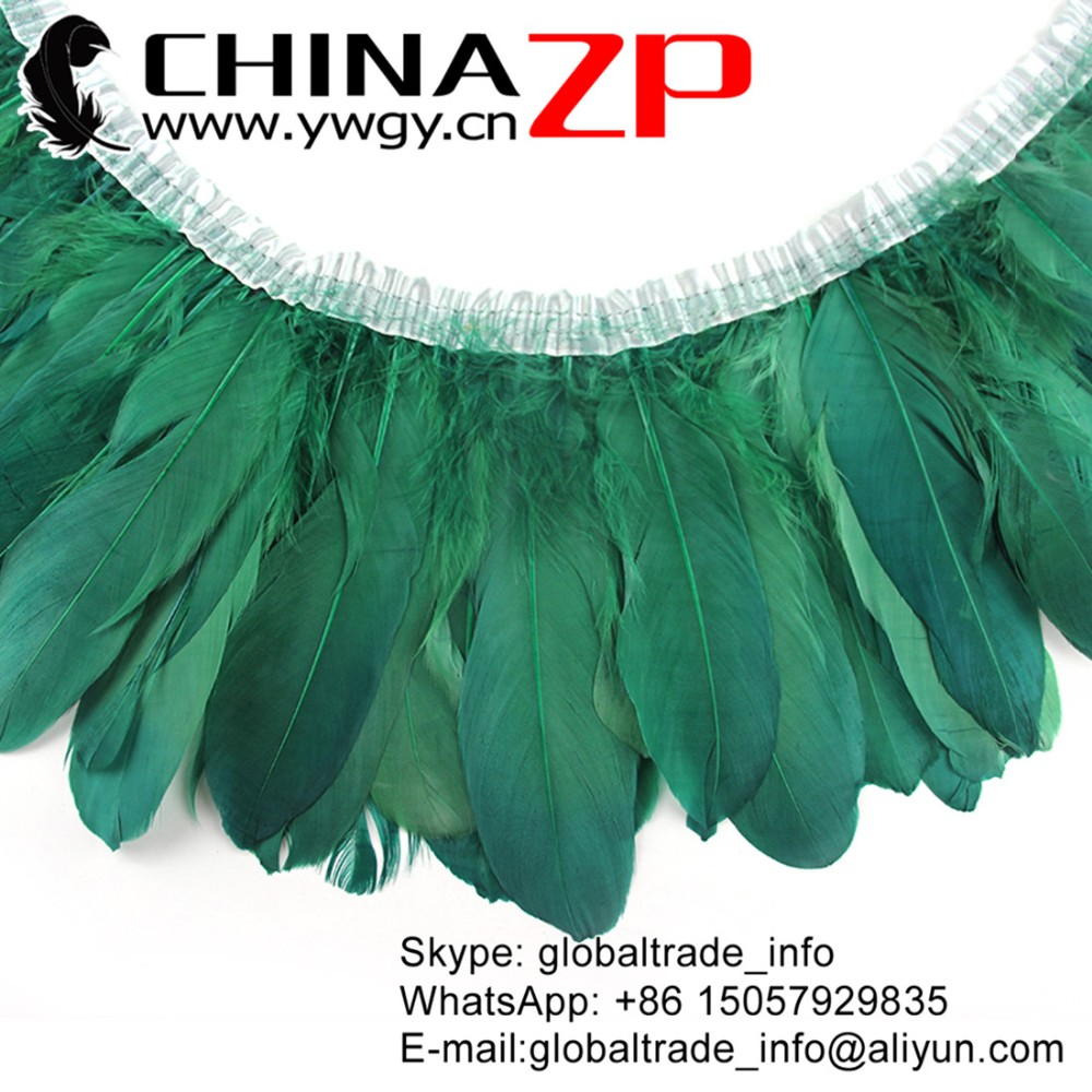 2 Yards HACKLE Fringe in Kelly Green 4-6 Feathers