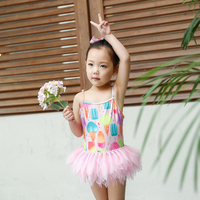 2019 Summer Children Ice Cream Swimwear for Baby Girls Kids Lovely One Piece Tutu Swimsuit Bathing Suit Swimming Costume 2 10Y B