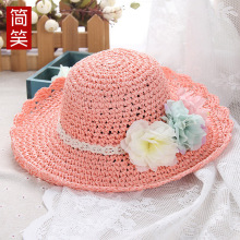 2017 Bucket Hat Sombreros Cappelli The Summer Children's Hat Female Flowers Handmade Sun Cap Can Be Folded Along Beach Resort