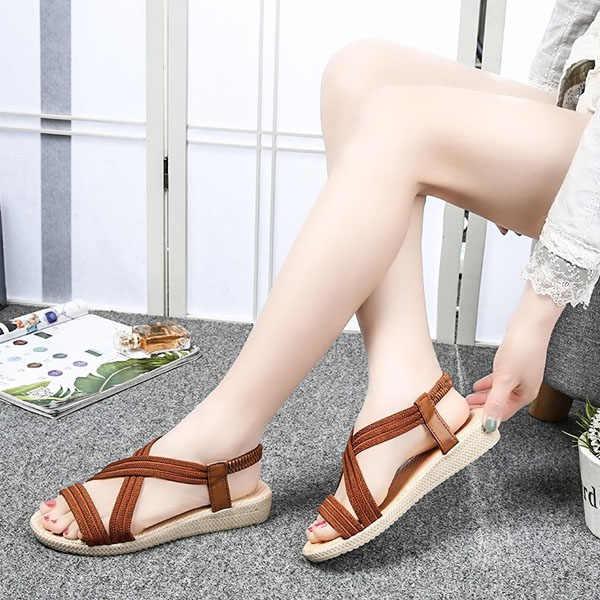 De Verano Y Elástica Casuales Sandalias Sólido Correa Para Zapatos Mujer 2018 Bs88 Nuevas Playa Color Con Tiras PTkiuXZO
