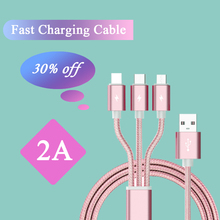 Fast Charging date Cable 3 in 1 Cable USB Data line Micro USB Type C 8 pin 1M for i-p-h for Xiaomi/ Huawei /Android Tablet pofan p04 3 in 1 micro usb 8 pin type c zinc alloy data sync charging cable for ios android devices gold
