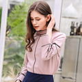 European style boutique fashion women blusa high quality elegant long sleeve stand collar pure color pullovers woman shirt E382