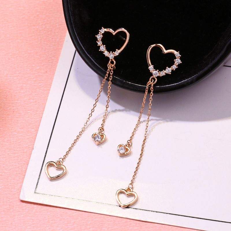 2019 New Arrival Metal Trendy Heart Women Dangle Earrings Loving Korean Version Fashion Long Tassel Female Elegant Jewelry