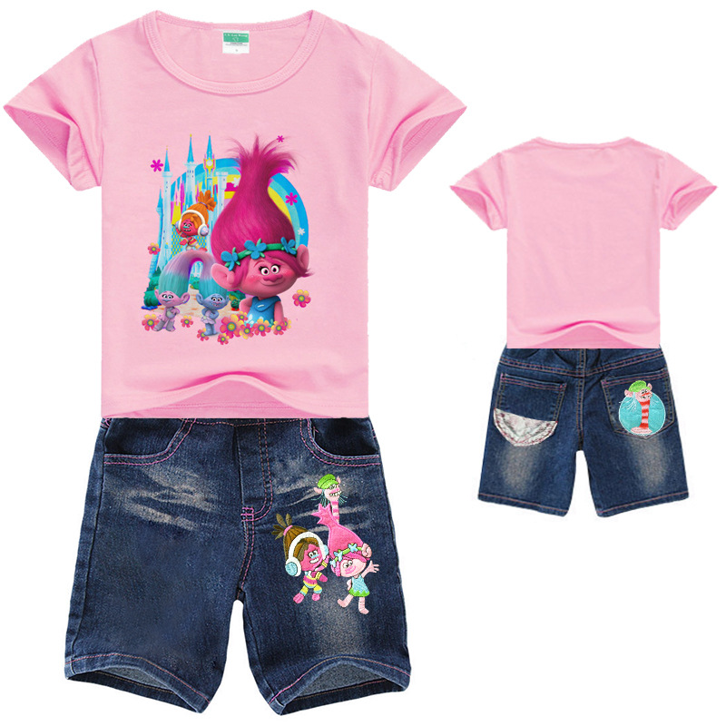 Trolls Girls Clothing Set Summer Cotton Clothing Sets For Girls T-Shirt + Jeans Toddler Girls Clothes Suit Children Clothing