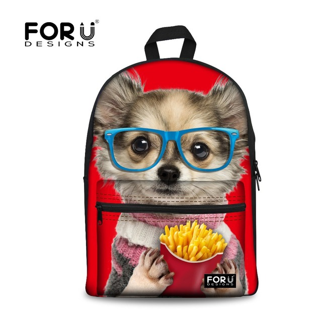 Cute French Dog Print School Bags for Teenager Girls Designer Children Schoolbags Sac a dos Child Kids School Book Bags Mochila