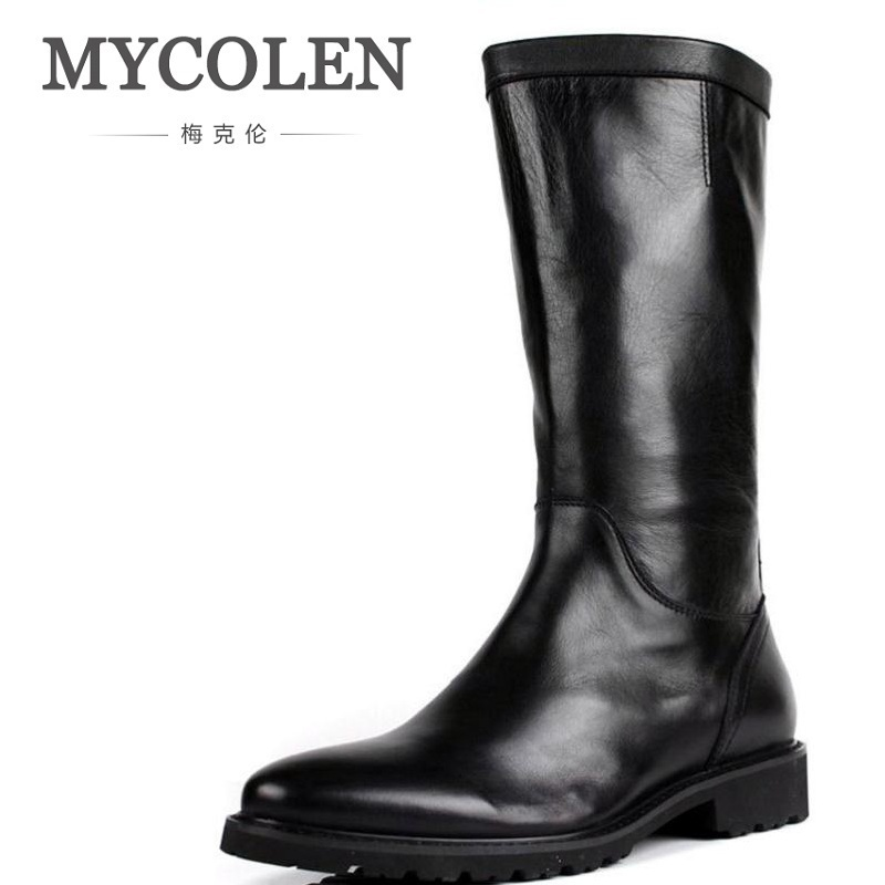 MYCOLEN Mid-Calf Motorcycle Men Boots Genuine Leather Winter Shoes Male Botas Hombre High top Men Shoes Chaussure Homme Hiver double buckle cross straps mid calf boots