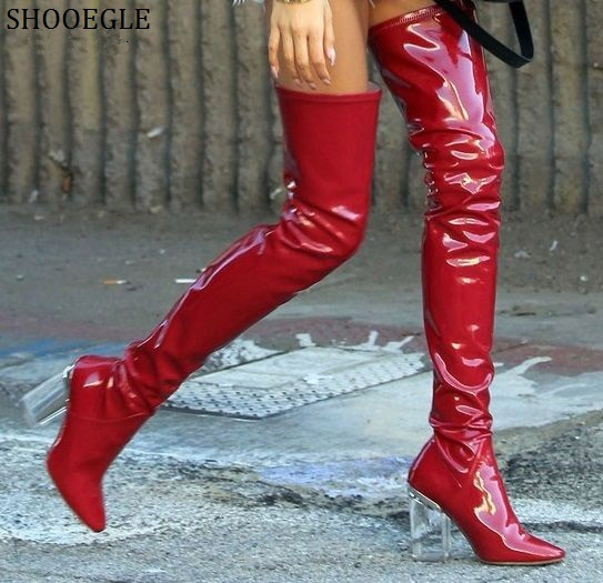 SHOOEGLE Red Blue Stretch Leather Thigh High Boots Rome Style Glass High Heels Women Boots Clear Block Heels Over-The-Knee Boots peter block stewardship choosing service over self interest