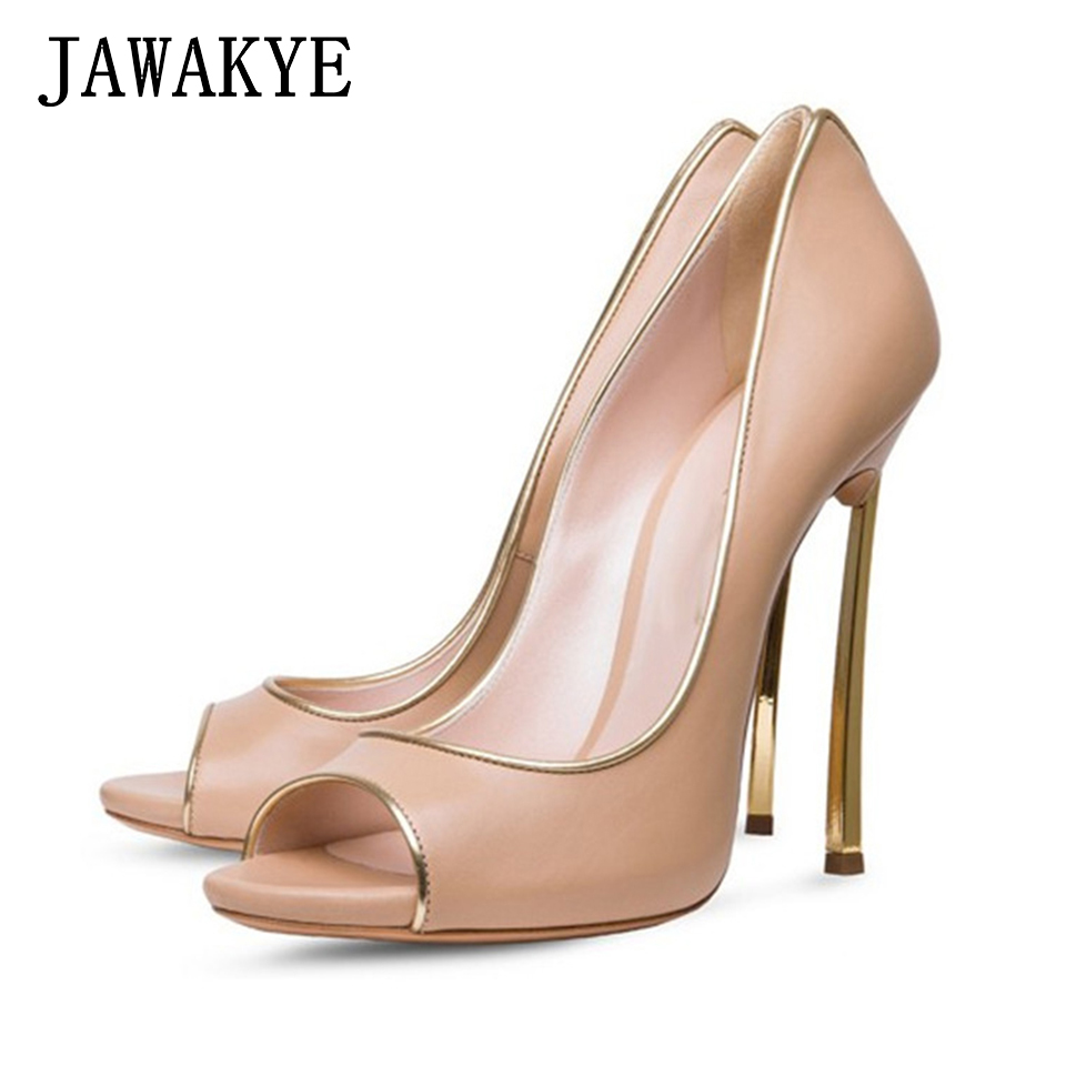 JAWAKYE Sheepskin leather Women Pumps Shoes Sexy Peep Toe 12 CM thin High Heels Wedding Shoes Stilettos Women Shoes high heel apoepo women high heel pointed toe slip on sexy pumps 10 cm and 12 cm nude high heel wedding bride shoes concise style stilettos