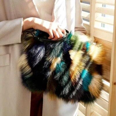 Новый модный тренд меховой мешок действительно Лисий мех мешок известный вечерние сумки женские теплые большой Ёмкость клатч Разноцветные сумки