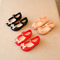 2017 kids Girls sandals Toddler jelly shoes Satin bow PVC soft outsole children sandals Rain shoes 15-18.5cm